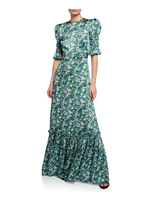 THE VAMPIRE'S WIFE Floral Puff-Sleeve Silk Long Dress