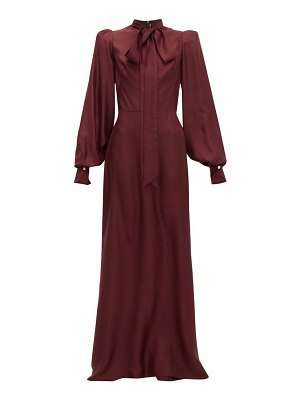 THE VAMPIRE'S WIFE pussy-bow silk-twill gown