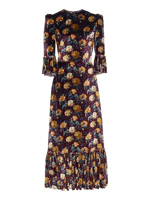 THE VAMPIRE'S WIFE ruffled floral-print velvet maxi dress size: 10