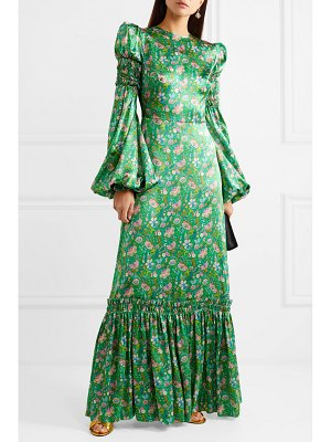 THE VAMPIRE'S WIFE shirred floral-print silk-satin maxi dress