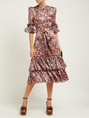 THE VAMPIRE'S WIFE veneration floral print silk charmeuse midi dress