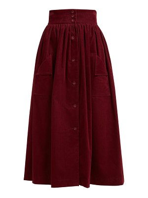 THE VAMPIRE'S WIFE visiting button front cotton corduroy midi skirt