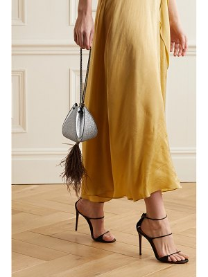 THE VOLON cindy mini feather-trimmed glittered and textured-leather clutch