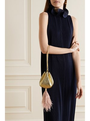THE VOLON cindy mini feather-trimmed metallic textured-leather clutch