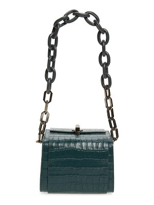 THE VOLON po cube croc embossed leather box bag