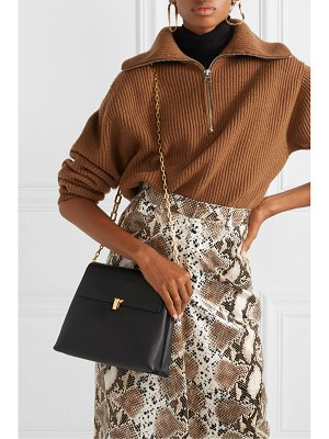 THE VOLON po day smooth and textured-leather shoulder bag