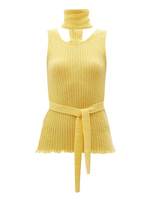 Thebe Magugu detachable-collar ribbed wool-blend top
