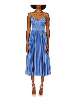 Theia Allison Sweetheart Pleated Midi Dress
