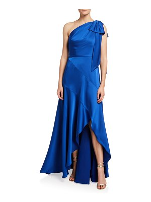 Theia Ariel One-Shoulder High-Low Satin Gown
