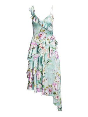 Theia asymmetrical floral ruffle dress