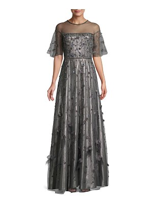 Theia Beaded Floral Illusion Gown