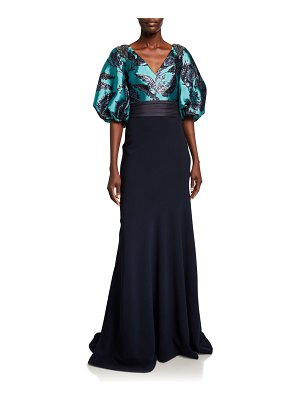 Theia Couture Bishop-Sleeve Jacquard Bodice Gown with Crepe Skirt