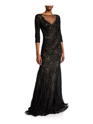 Theia Couture Embellished Tulle 3/4-Sleeve Godet Illusion Gown