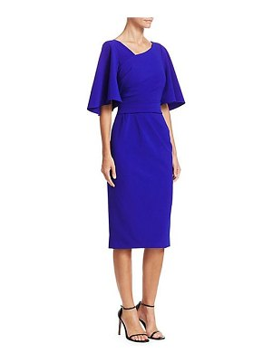 Theia crepe flutter-sleeve cocktail dress