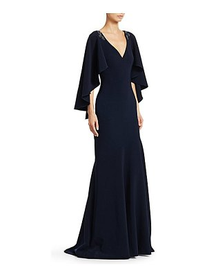 Theia embellished cape-sleeve mermaid gown