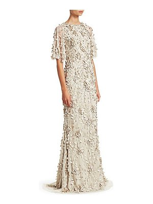 Theia embellished flutter-sleeve tulle gown