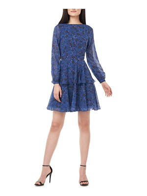LOVE BY THEIA floral print long sleeve chiffon cocktail dress