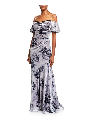 Theia Floral Velvet Sweetheart Cold-Shoulder Lace-Inset Gown