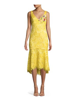 Theia Lace V-Neck Dress w/ Floral Embroidery
