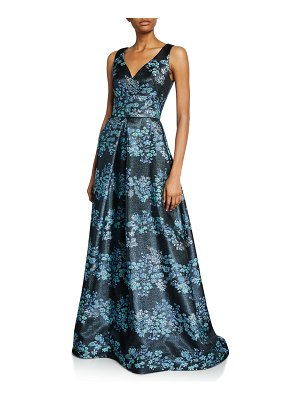 Theia Metallic Floral V-Neck Sleeveless A-Line Gown