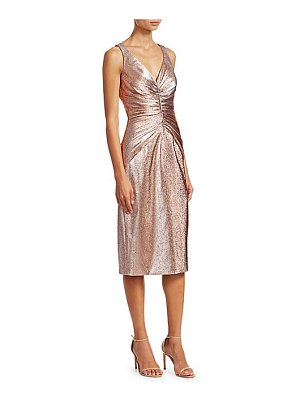 Theia metallic ruched midi dress