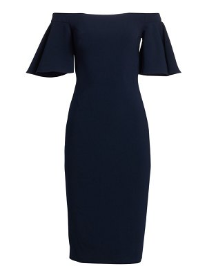 Theia off-the-shoulder crepe midi dress