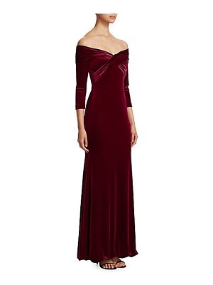 Theia off-the-shoulder velvet gown
