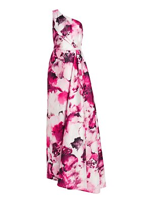 Theia one-shoulder floral printed gown