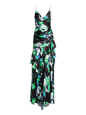 Theia ruched floral gown