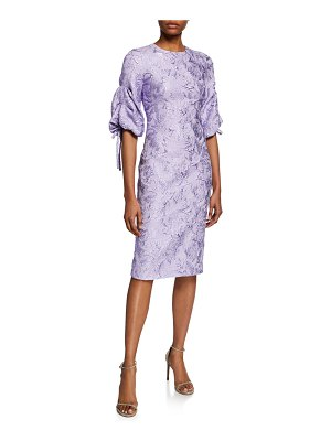 Theia Ruched-Sleeve Cloque Cocktail Dress