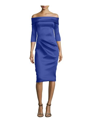Theia Stretch Satin Off-the-Shoulder Cocktail Dress