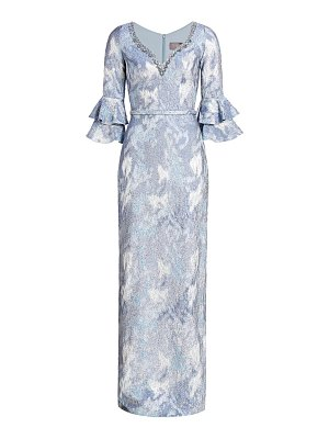 Theia v-neck floral column gown