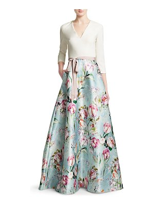 Theia V-neck Floral Skirt Gown