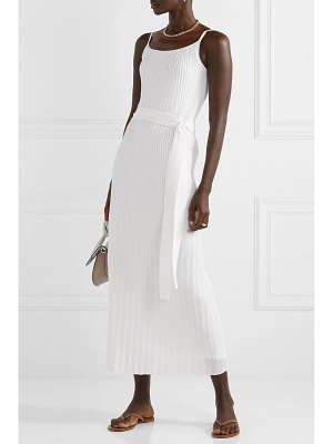 Theory belted pleated stretch cotton-blend midi dress