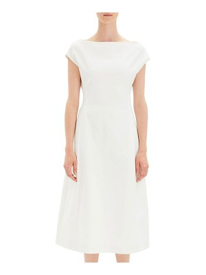 Theory Boat-Neck Double-Stretch Tulip Midi Dress