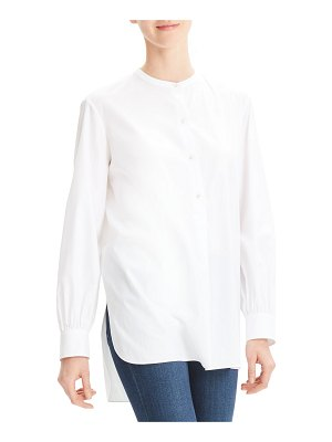 Theory Button-Front Long-Sleeve Cotton Popover Tunic
