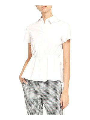 Theory Cinched-Waist Short-Sleeve Button-Down Shirt