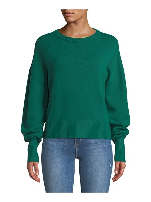 Theory Crewneck Drop-Shoulder Long-Sleeve Cashmere Sweater