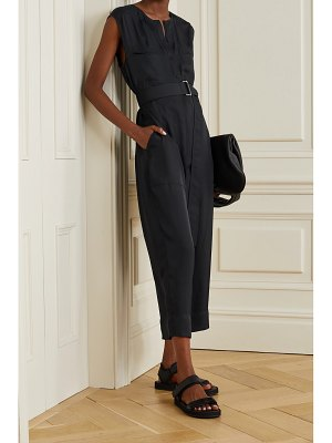 Theory cropped belted twill jumpsuit