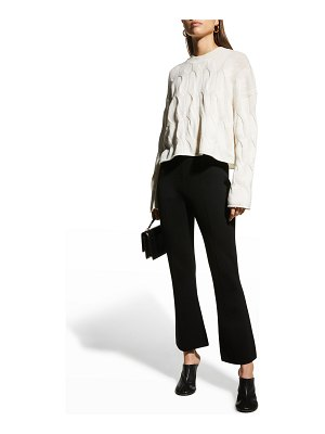 Theory Cropped Cable-Knit Cashmere Sweater