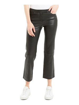 Theory Cropped Leather Boot-Cut Pants