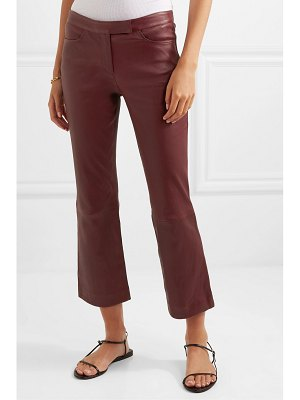 Theory cropped leather bootcut pants