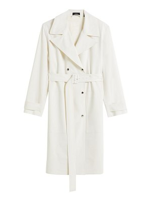 Theory double-breasted stretch wool military trench coat