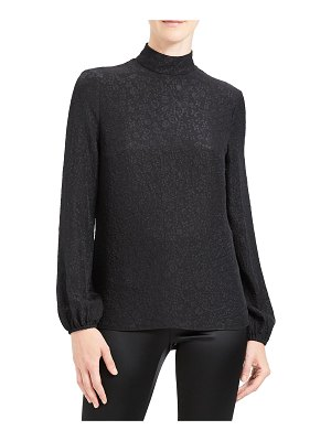 Theory Floral Jacquard Mock Neck Long-Sleeve Silk Top