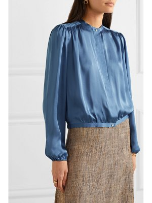 Theory gathered silk-satin blouse