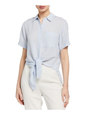 Theory Hekanina Linen Tie-Front Blouse