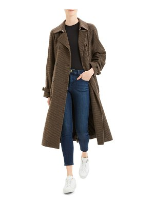 Theory houndstooth wool blend trench coat