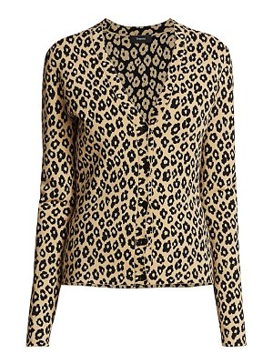 Theory leopard print v-neck cardigan