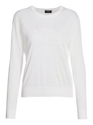 Theory linen blend crew sweater
