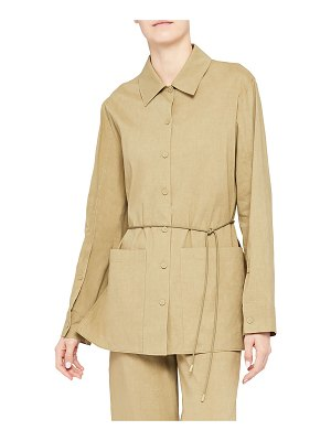 Theory Linen Shirt Jacket with Patch Pockets